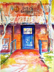 Sotos Outpost Restaurant Painting by Roberta Rogers